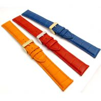 XXL Coloured Padded Croc Grain Leather Watch Strap 18mm - 24mm C005